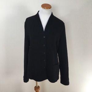 EILEEN FISHER Black Waffle Knit Button-Down Jacket
